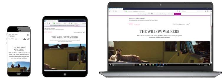 Willow walkers wix page responsive site preview - across device sizes