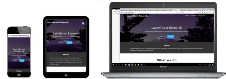 laurelhurstresearch.com responsive site preview - across device sizes