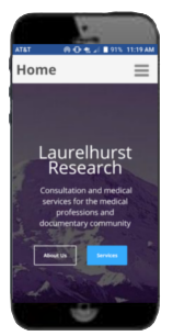 laurelhurstresearch.com responsive site preview - mobile size